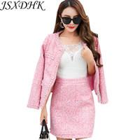 perlen für anzüge großhandel-Herbst Winter Frauen 2 Stück Set 2018 Luxus Rosa Perlen Perle Tweed Wollmischungen Quaste Jacke Mantel + Bodycon Bleistift Rock Anzüge
