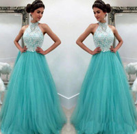 Wholesale aqua backless prom dress for sale - Group buy Aqua Prom Dresses Elegant Evening Formal Dresses Pageant A line Gowns African Black Girl Evening Dresses Halter Lace Long Cheap