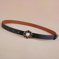 brauner dünner gürtel großhandel-Qualitäts-Leder-dünner Gurt kleine Art- und Weisefrauen dünnes Leder-Taille Bügel-Brown-Schwarz-dünne Gurte Emailleblumen-Perlenschnalle