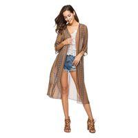 Wholesale Tribal Cardigans - Women's Blouses Half Sleeve Long Vintage Tribal Chiffon Kimono Jacket Shirt Cardigan Summer Beach Loose Bikini Outwear Y6