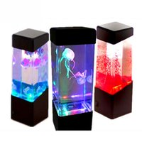 Wholesale jellyfish lighting - Wholesale- Bedside Table Motion Lamp Jellyfish Lamp Aquarium LED Relaxing Desk Lamp Night Light Bedside Table Motion No Batteries