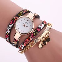 Wholesale flower bangle watches for sale - Myelo New Printing Flower Rhinestone Charms Bracelets Leather Quartz Watches Bracelet Round Sequins Bracelets Bangles For Women