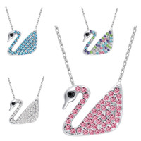 Wholesale alloy jewlery - 2018 White Blue Crystal Swan Necklace Silver Chain Animal Pendant Designs Fashion Jewlery for Women Girls Gift 162339