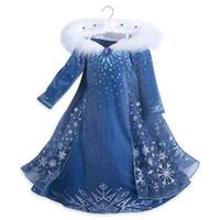vestido de fiesta de halloween disfraz al por mayor-Vestido de las muchachas del invierno de los niños congelado princesa vestidos de partido de la bola del vestido de los niños del traje de Halloween cosplay ropa 3-8T