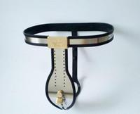 ingrosso chastity cage underwear-Maschio a forma di T cintura nera di castità intimo in acciaio inox dispositivo di castità con catetere uretrale cazzo gabbia spina anale giocattoli del sesso per gli uomini