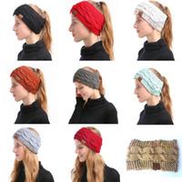 cintas para la cabeza de invierno para mujer al por mayor-CC de punto de las vendas de las mujeres Winter Headwrap Hairband Crochet Turbante de la venda del abrigo CC colorido del oído caliente de la venda del pelo Accesorios 9 colores calientes
