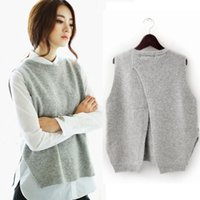 Wholesale sweater vest cashmere - 2018 Spring Loose Big Yards Female Hedging Sweater Vest Sweater Vest Round Neck Wool Vest Waistcoat Jacket