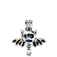 Wholesale aromatherapy animals for sale - Group buy 10pcs Silver Enamel Halloween Bat Wing Animal Oysters Beads Cage Locket Pendant Aromatherapy Perfume Essential Oils Diffuser