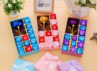 Wholesale Decorative Boxes For Gifts - Gold Foil Rose Flower Wedding Decoration Articles Creative Birthday Present For Lady Manual Soap Flower Gift Box wen5814