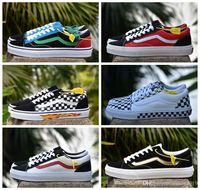 Wholesale flame logo - 2018 Vans X Flame Old Skool Women Men Canvas Casual Shoes Logo Designer Luxury Vans zapatillas de deporte Skateboarding Sneakers 36-44