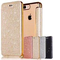 étui portefeuille transparent iphone 5s achat en gros de-Hybrid Bling Sparkle 3D Glitter Flip En Cuir Portefeuille Cas Clair TPU Couverture Pour iPhone X 8 7 6 6S 5 5S SE Samsung S7 Bord S8 S9 Plus Note Note8