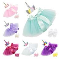 ingrosso filato azzurro-unicorno bambino Abiti Tute 3 pz / set compleanno Infant Girls Outfit unicorno floreale Fasce + Tutu Gonne + Fiore scarpe Abbigliamento neonato BY0273