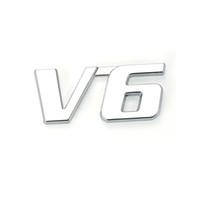 Wholesale White Motor Truck - Metal Chrome 3D V6 Displacement Emblem Badge truck auto motor sticker decal