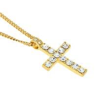 Wholesale white gold diamond cross pendant - Diamond Crystal Jesus Cross Pendant Necklace Gold Silver Chains Hip Hop Bling Jewelry for Men Women Fashion Gift Drop Shipping