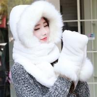 conjuntos de bufanda de invierno de piel sintética al por mayor-Los guantes del sombrero de la bufanda de las mujeres del otoño del invierno fijaron el conjunto largo del sombrero de guante de las mujeres de la bufanda de la piel sintética
