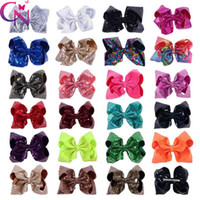 Wholesale alligator for kids - 8 Inch Sparkly Girl Jumbo Rainbow Sequin Hair Bows On Alligator Clip For Kid Girl Hair Clip
