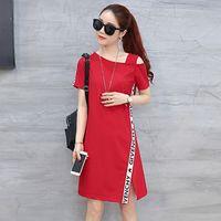 Wholesale Dress Sexy Korean Style - 3XL Korean style Elegant Mini Stripe Dress 2018 Spring Summer Sexy One Shoulder Casual Slim Side Split Party Dresses Vestidos