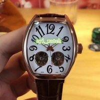 белые часы для мужчин оптовых-Новые мужские часы двойной маховик вина баррель серии наручные часы белое лицо смотреть Кожаный ремешок смотреть автоматические механические часы