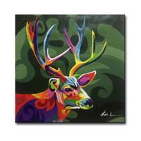 Wholesale Framed Hand Painted Abstract Sika Deer Animal Picture Art Paintings on Canvas for Sofa Wall or TV Wall Decoration pc
