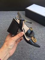 zapatos ss al por mayor-Nuevo 2018 de cuero con tiras gruesas tacones mujeres diseñador único puntiagudo vestido zapatos de boda Sexy marca sandalias de tacón grueso 2017 / SS