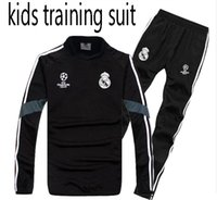 Wholesale boys black pants - kids TOP QUALITY new 17-18 Real Madrid kids soccer chandal BLACK football tracksuit 2017-2018 training suit pants High collar Sportswear