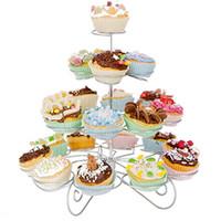 favores de la torta de la taza al por mayor-2018 Party Favors 4 Tier 23 tazas Cupcake Stand Cake Holder hecho con acero inoxidable para la decoración del partido