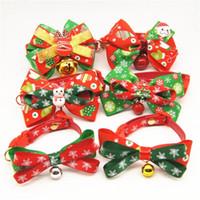 suministros para perros de navidad al por mayor-Merry Christmas Puppy Dog Cute Traction Cuerda Collar arco pequeño Bell Cat Tie Tie Holiday Party Favor Pet Supplies 12am4 ff