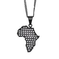 Wholesale indian men gold chain design online - Unique Design Hip Hop Necklace L Stainless Steel Black Gun Gold Plated Africa Map Pendant Necklace for Men Women Nice Gift