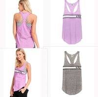 Wholesale wholesale running tops - Love Pink Letter Gym Sports Sleeveless pink T shirts Tank Tops Fitness Running T-shirt Yoga Vest for Gilrs m-2xl Size vs summer Top&Tee sale