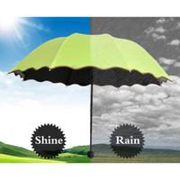prinzessin regenschirm blau großhandel-Mädchen Anti UV Sonnenschirm Regen Damenmode Prinzessin Schwarz Beschichtung Lila Rosa Grün Blau Rose Weiblich Sonnenschirm Regenschirme