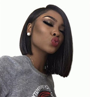 Wholesale silk top glueless wig kinky curly for sale - Brazilian Human Hair Silk Base Lace Front Short Bob Wigs For Black Women Silky Straight Silk Top Glueless Full Lace Wigs