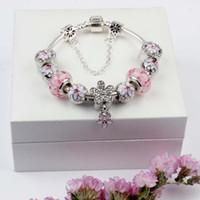 şeftali cazibesi gümüş toptan satış-Manolya Bilezik 925 Gümüş Charm Aksesuarları Bilezik Şeftali Çiçek Kolye Bileklik Charm Hediye olarak Magnoliaeflora Boncuk Diy Düğün Takı