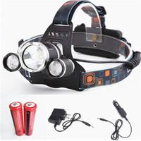 cree xml t6 kopfbrenner großhandel-Neue CREE XML T6 + 2R5 LED Scheinwerfer Scheinwerfer Stirnlampe Licht 4 modus Taschenlampe + 2x18650 Batterie + EU / US Auto Ladegerät für Angeln Lichter
