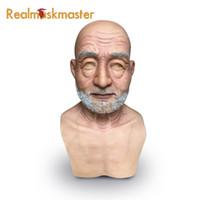 máscara de látex para homens venda por atacado-Atacado suprimentos de festa adulto silicone máscara facial para o homem velho fetiche artificial máscaras de halloween falso masculino látex realista