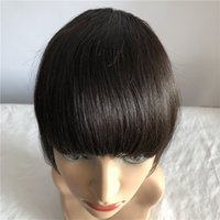 Wholesale clip bangs front - 100% Human Remy Hair Front Neat Bangs Natural color Clip In Human Hair Extensions 6inch 1Pc Free Shipping
