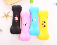 Wholesale School cute bone pen bag creative silicone expressions student pencil case candy color office stationery gift cosmetic makeup travel