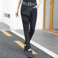 Wholesale korean fashion pants for women - ASYMSAY Korean Fashion Front Pleated Black Harem Pants Autumn Elastic Fabric Mid Waist Pencil Trousers For Women AC8122