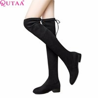 Wholesale heels boots 43 resale online - QUTAA Ladies Shoes Square Low Heel Women Over The Knee Boots Scrub Black Pointed Toe Woman Motorcycle Boots Size