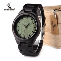 Wholesale Oem Ebony - BOBO BIRD WH03 Mens Ebony Wooden Watch Green Wood Dial Vintage Watch for Mens With Wood Box OEM