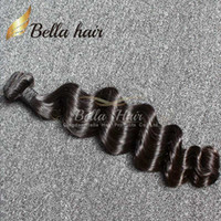 ingrosso capelli ondulati profondi peruviani-Bella capelli al dettaglio 1 bundle peruviano malese indiano brasiliano capelli sciolto onda profonda ondulato 8a tingibile colore nero capelli umani tesse 1 pz