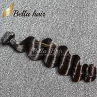 venta al por menor del tejido del pelo al por mayor-Bella Hair® Retail 1 Bundle Peruano Indio de Malasia Pelo Brasileño Suelta Onda Profunda Ondulado 8A Color Negro Teñible El cabello humano teje 1pc