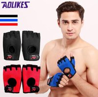 Wholesale finger support gloves - 2018 new Sports Fitness Gloves Lengthened wrist half finger non-slip breathable comfortable palm stock comfortable durable-