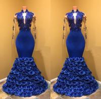 платье выпускного вечера из кружев с цветами оптовых-2019 королевские синие платья выпускного вечера русалки с розовыми цветочными цветами прозрачные вечерние платья с открытой спиной аппликация кружева с длинными рукавами плюс размер вечернее платье