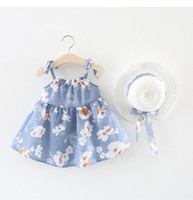 Wholesale nice costumes - Sweet Baby Girls Princess Dresses Nice Summer Floral Skirts with Bonnet Hat 2018 Girl Children's Day dresses Toddler Costume Infant Clothes