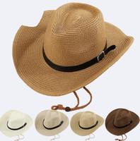 Sombrero de vaquero occidental de los hombres de moda de playa protector solar  sombrero grande ocio turismo sombrilla sombrero de paja al por mayor barato c8dfc7c6ac9