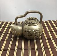 ingrosso set di tè moderni-Nuovi scaffali Argento antico placcato rame antico Westward hip flask teiera Modern craft decoration tea set decoration