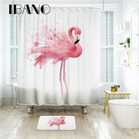 pvc 12 adet toptan satış-IBANO Flamingo Duş Perdesi Su Geçirmez Polyester Kumaş Banyo Perdesi 12 adet Plastik Hooks Kat Mat Ile Banyo Için
