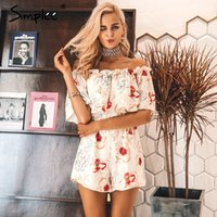 948f9d797d39 Simplee Off shoulder floral print women jumpsuit romper Elegant ruffle short  playsuit Summer 2017 beach vacation sexy overalls Y1891806