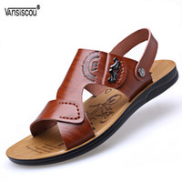мужская сандалия горячая продажа оптовых-VANSISCOU Hot Sale Summer Soft PU Leather Sandals  Quality Cheap Beach Men Sandals Open Toe Male Casual Slippers Shoe Homme
