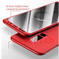 hibrid ekran koruyucusu toptan satış-Ultra-ince Hibrid 360 Derece Tam Vücut Koruyucu Kılıf Kapak ile Temperli Cam Ekran Koruyucu Samsung Galaxy S9 iPhone X 8 7 Artı
